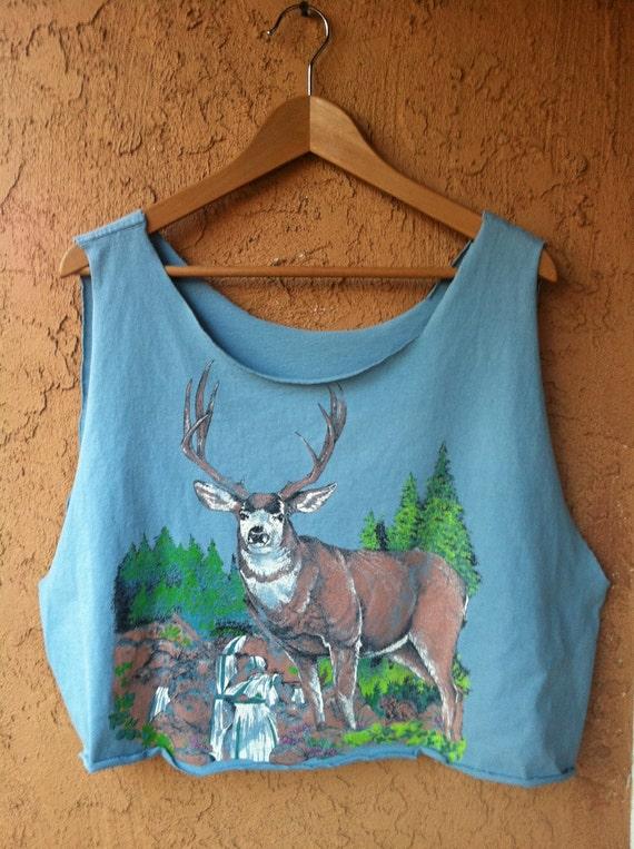 Vintage 80s Blue Deer Cropped Muscle Tank size medium- large