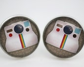 Vintage Camera Cuff Links 'Retro Photography' Gift For Men, Silver Glass Version 3