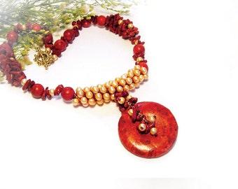Coral Pearl necklace Red Orange Goldenrod Golden Peach Donut Pendant Big Statement Beaded Crochet Beadwork OOAK