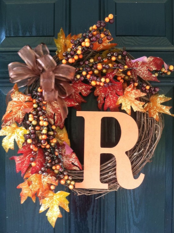 Items Similar To Fall Wreath With Monogram On Etsy