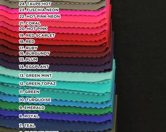 ITY Stretch Knit Fabric SINGLE COLOR Sample Swatch Card 31 Colors Available - Style 450