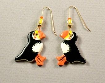 Handpainted ceramic puffin earrings