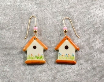 Handpainted ceramic birdhouse earrings w 12K gold filled ear wires