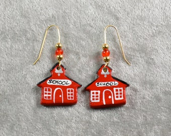Handpainted ceramic school house earrings