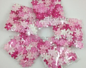 500 Die Cut Scrapbooking Small Mulberry Paper Flowers Crafts Supply Card Making Mixed Pink Set 4