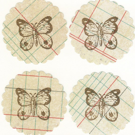Butterflies on Scallop Vintage Look Ledger Paper / Wedding Envelope, Invitation Sticker Seals / Favor Bag Seals