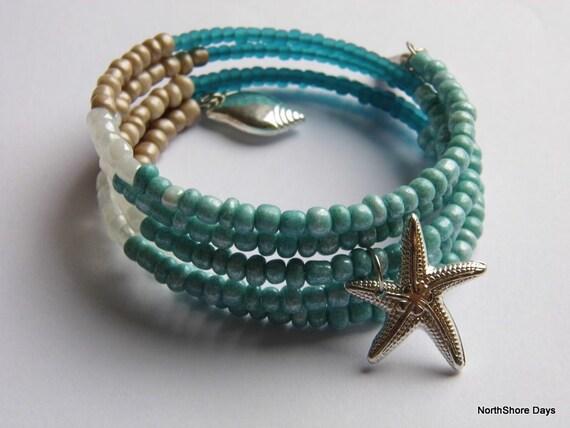 Colour Block Beachy Memory Wire Bracelet