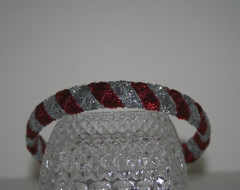 Red and  Silver Woven Glitter Ribbon Headband