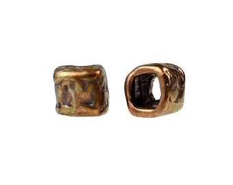 Set of (2) Solid Bronze Square Beads / Crimp Covers (ID: 9866)
