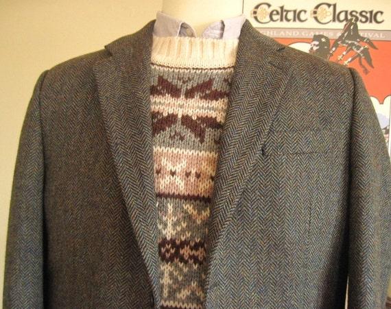 Vintage Herringbone Tweed Jacket / Blazer / Sport Coat