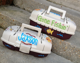 Cute, Fun, Custom, Personalized Kid's GONE FISHIN' Tacklebox for Boys and Girls Outdoors