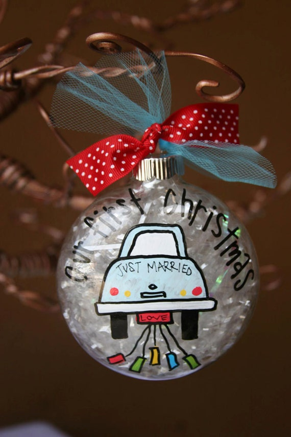 Custom Hand Painted cute 4 Glass ornament Our First