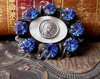 French Virgin Mary Brooch w Blue Rhinestones and MOP mother of pearl