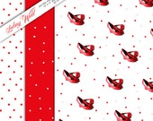 Hot Red Shoe and Polka Dot Gift Wrap digital download