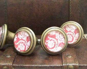 Paisley Print Glass Knob-Red and White Drawer Pull-Victorian Style-1 Knob