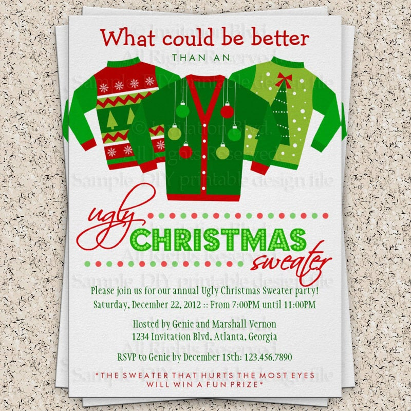Ugly Christmas Sweater Party Invitation Wording – gangcraft.net