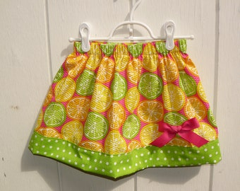Ready to Ship- Girls Size 4 - Citrus Print Skirt with Bow
