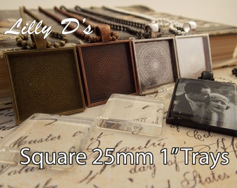 Pendant Tray - 20- Square Blank Pendant Trays- 1 inch 25mm Square Pendant Blanks- 5 Colors to Choose From.