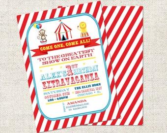 Circus Birthday Invitation, Printable Circus Birthday Invitation, Personalized Circus Birthday