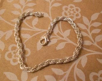 "Bracelet, Silver Twisted Rope 7"" Mid Century, Boho, Timeless Design, Estate Piece, Charm Bracelet ~ BreezyTownship.etsy.com   BR007"