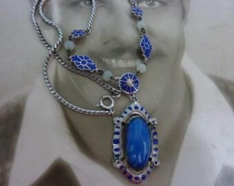 ART DECO BLUE brass and glass vintage enamel lavalier necklace