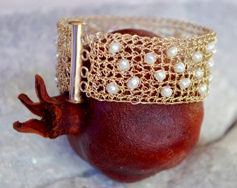 Unique Princess Bracelet- 14K gold filled and pearls, crochet jewelry