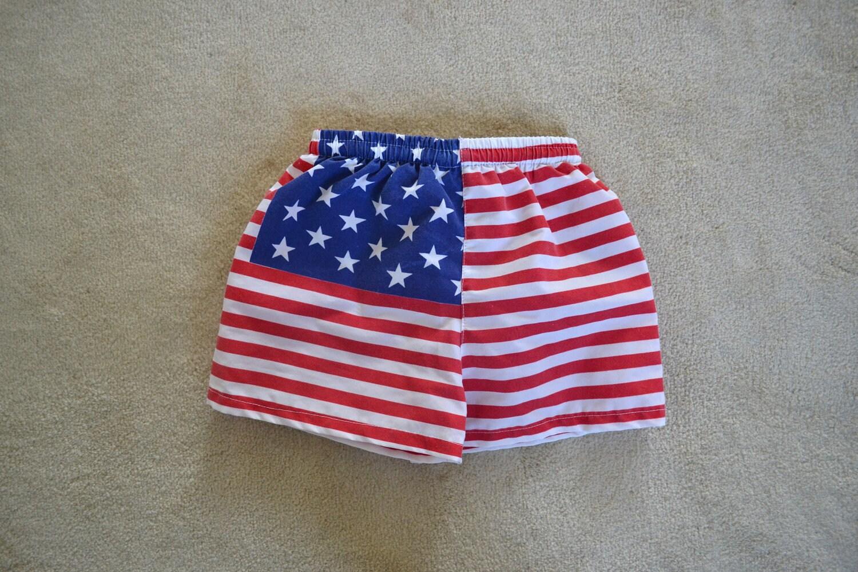 Vintage American Flag Baby Swim Trunks Size 12 Months