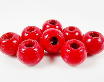 8 Chunky Artisan Handmade Cranberry Red Glass Bead - 13mm - BE117