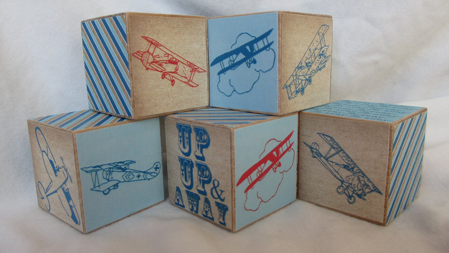 Retro Airplane Wood Blocks Boys Nursery Room Decor Baby Shower