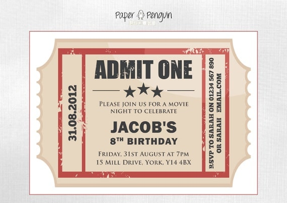 Items similar to Personalized Kid's Movie Ticket Party Invitation ...