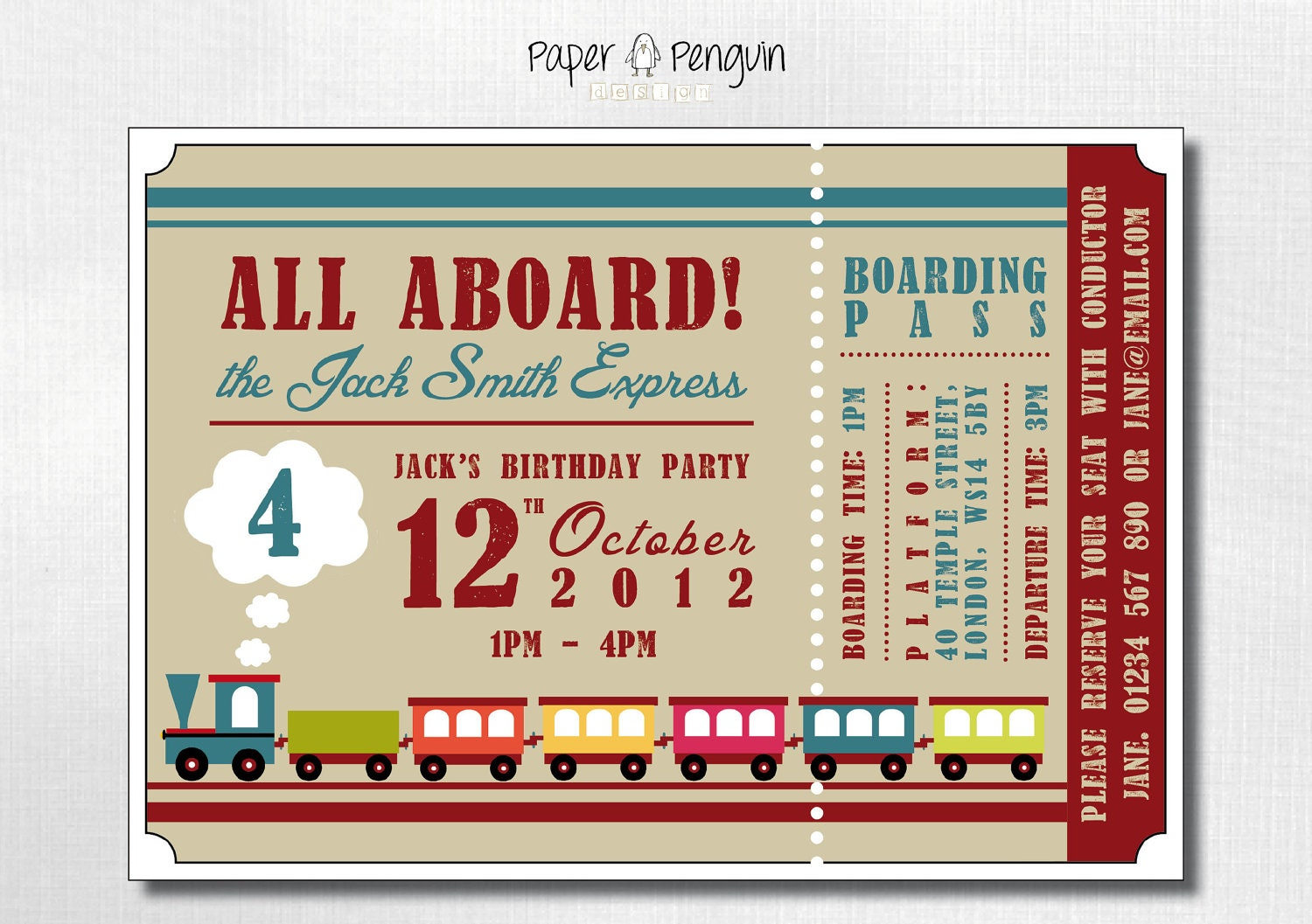 Items similar to Personalized Kid's Train Ticket Birthday Party ...