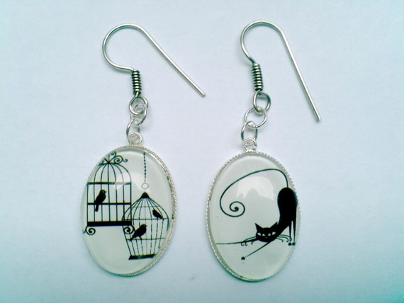 Earrings ' silver, glass Joker cat and bird to stay