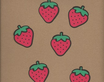 6-2 inch Red and Green Strawberries Cricut Die Cuts