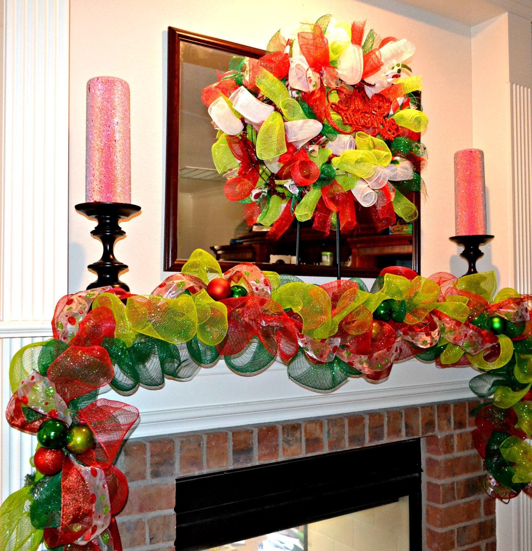 Christmas garland deco mesh garland mantel decoration for How to make christmas garland decorations