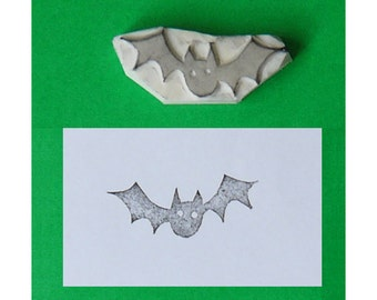 Bat Rubber Stamp - Halloween stamp, bat stamp, Halloween handcarved stamp, Halloween hand carved stamp, Halloween rubber stamp
