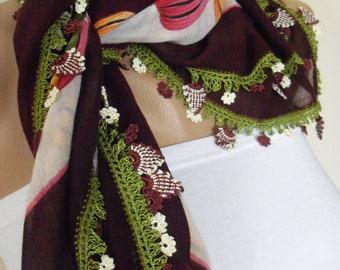 Gorgeous Turkish Traditional Yemeni-Oya,Floral Cotton Scarf Shawl Crochet
