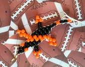 """Halloween in Baltimore - Large """"Lucky Lizard"""" With A Black Body and Neon Orange Stripes - Handmade to Save Lives - Double Diagonal Design"""