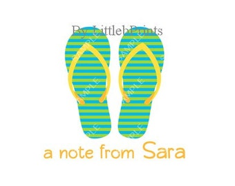 Green Blue Flipflops Note Cards Set of 10 personalized flat or folded cards