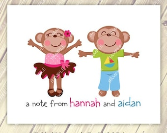 Sibling Twins Boy and Girl Monkey Note Cards Set of 10 personalized flat or folded cards