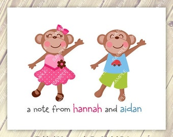 Brother Sister Boy and Girl Monkey Note Cards Set of 10 personalized flat or folded cards
