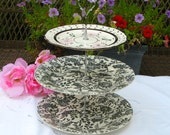 3 Tier cake stand by Tea Party by Britgal Tea Party Cupcake Plate in Black and White Toile and floral