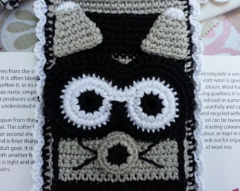 """Gray, Black and White Raccoon Dolled Up """"Bloomer"""" Crochet Case, Pandora Style Beaded Keychain for iPhone, Camera, Smart Phone"""