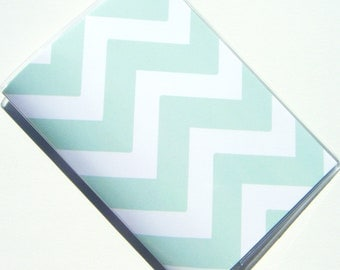 Chevron Passport Holder Cover Case  -- Mint Green