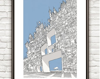 Transparent City , Surrealism, architectural Drawing, Architecture sketch