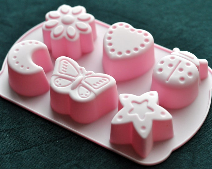 Silicone Soap Mold Jelly Candy Mold - Butterfly Ladybug Heart Star Crescent Flower