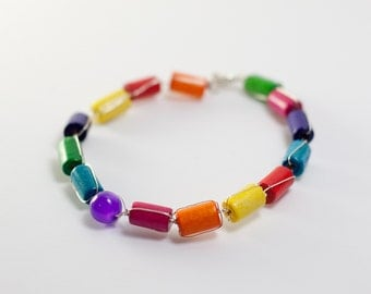 Colors of The Life - Fancy Multicolor Wood Beads Silver Wire Bracelet