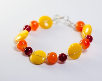 Sunny Games - Playful Orange Yellow Scarlet Beads Silver Wire Bracelet
