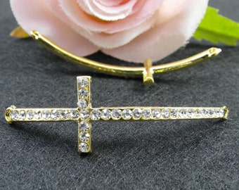 10pcs Cross Charms, 15x54mm Gold Plated Rhinestone Sideways Cross Charms Connector