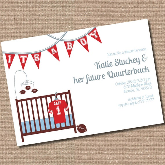 Items Similar To Football Baby Shower Invitation (Digital File Only... Printing Available) On Etsy
