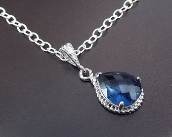 Sterling Silver Necklace Sapphire Blue Glass Pendant